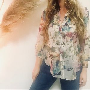 ANTHROPOLOGIE Fei Floral Silk Pleated Sheer Blouse